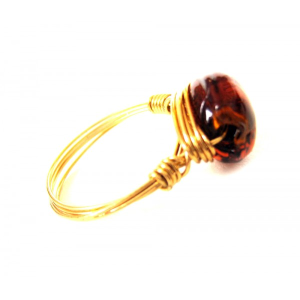 stone ring brown gold