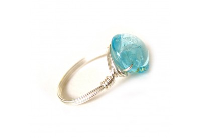 single stone ring - sky blue, silver