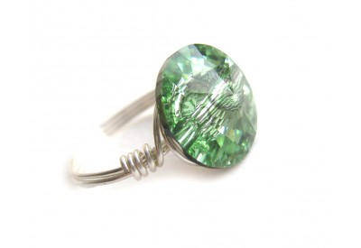 swarovski crystal button ring - chrysolite, silver band