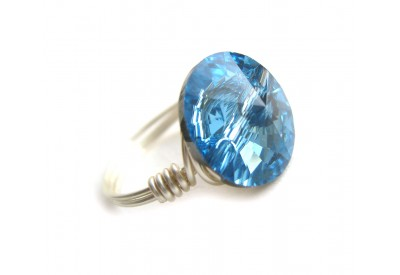 swarovski crystal button ring - aquamarine, silver band