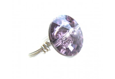swarovski crystal button ring - amethyst, silver band