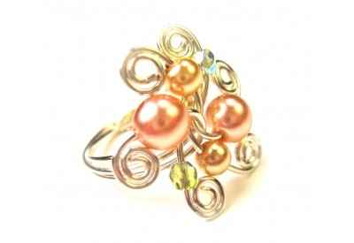 swirled silver ring - pink, bronze pearl, olivine