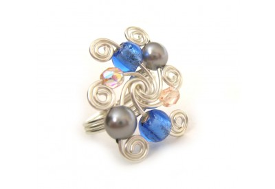 swirled silver ring - sapphire, peach, charcoal