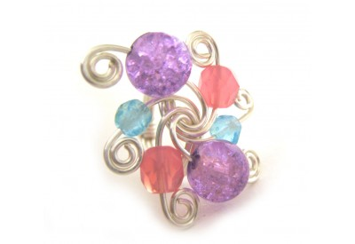 swirled silver ring - amethyst, alabaster pink and blue